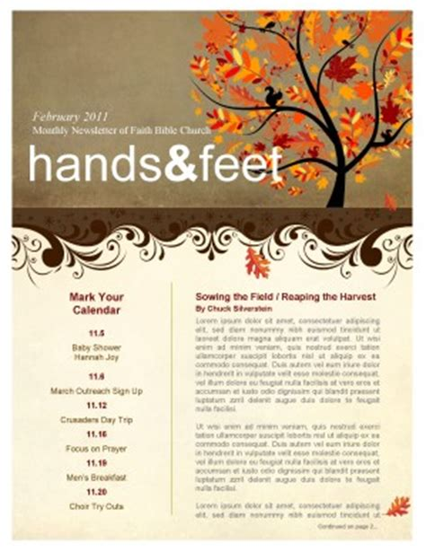 tree in autumn church newsletter template template