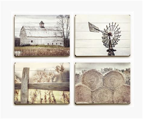 serene farmhouse wood plank set of 4 lisa russo fine art