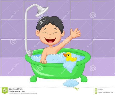 Bathtub Renew Cute Cartoon Boy Having Bath