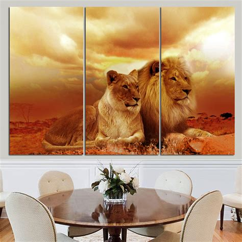 posters home decor no frame animal oil painting lion king posters wall art