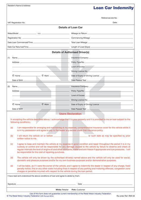 rmi059 loan car indemnity form pad rmi webshop