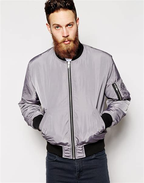 asos bomber jacket in gray for lyst