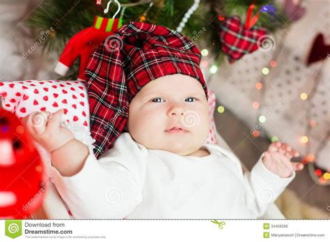 small baby in santa hat royalty free stock image image