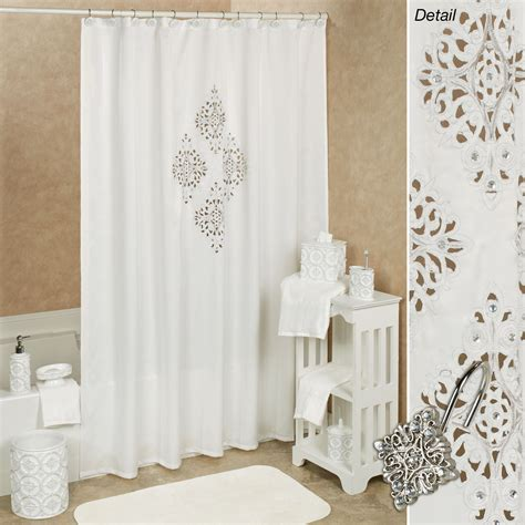 shower curtains white opulent off white cutout shower curtain