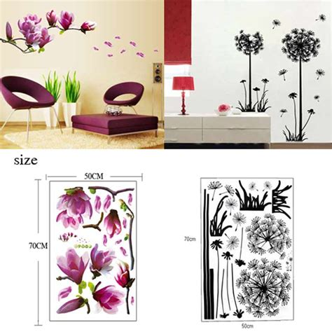 flower wallpaper home decor tv wall stickers 3d flying dandelion home decor magnolia