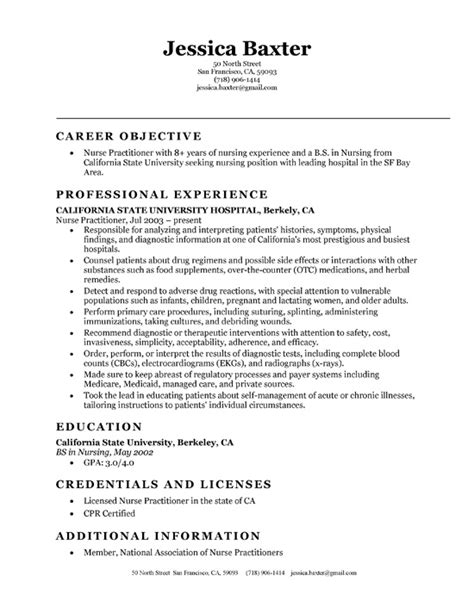 Resume Sle For New Registered New Graduate Practitioner Resume Sales