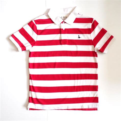 polo striped shirt for men in white and red male models