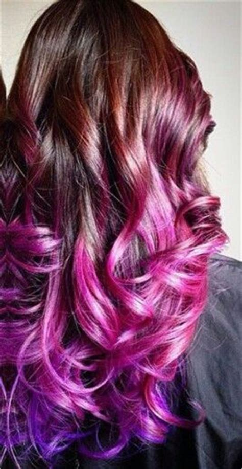 dyed hairstyles for brunettes pink purple ombre dip dyed hair the color salon