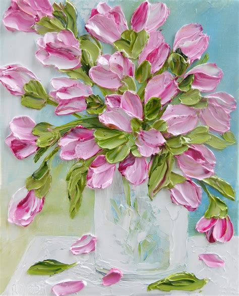pretty painted floors with flower designs custom tulip impasto oil painting tulip floral painting