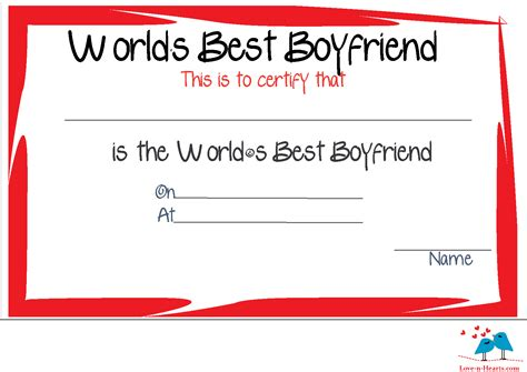 s day certificate free printable world s best boyfriend certificates