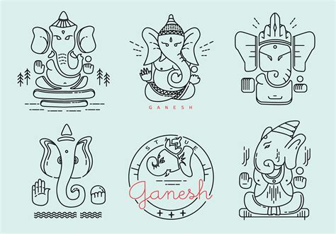 ganesh outlined vector pack   vectors
