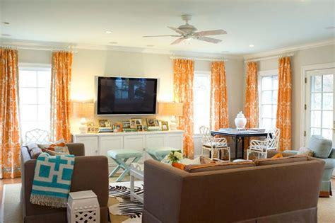 orange white and turquoise living room decor orange curtains contemporary living room palmer weiss