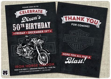 Free Printable Harley Davidson Birthday Cards Motorcycle Biker Birthday Invitation Card Includes Thank