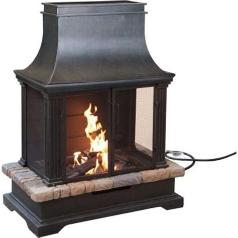 Outdoor Lp Gas Fireplace by Bond Manufacturing Sevilla 36 In Steel And Slate Propane Gas Outdoor Fireplace 66595 The Home