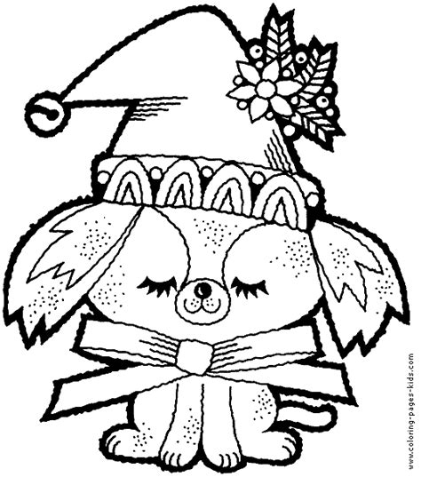 christmas dog color page christmas coloring pages