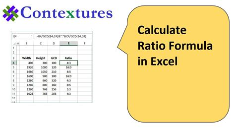 calculated in calculate ratio with excel formulas