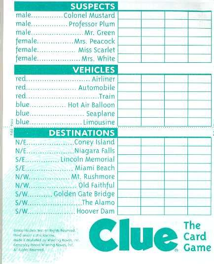 clue score cards template printable clue sheets search results calendar 2015