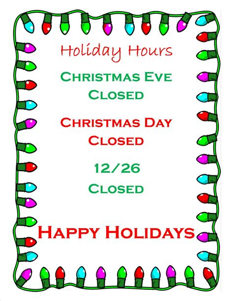 printable holiday hours signs business holiday hours sign the best holiday 2017