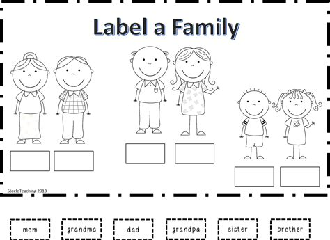 kindergarten activities on family steele teaching new family product