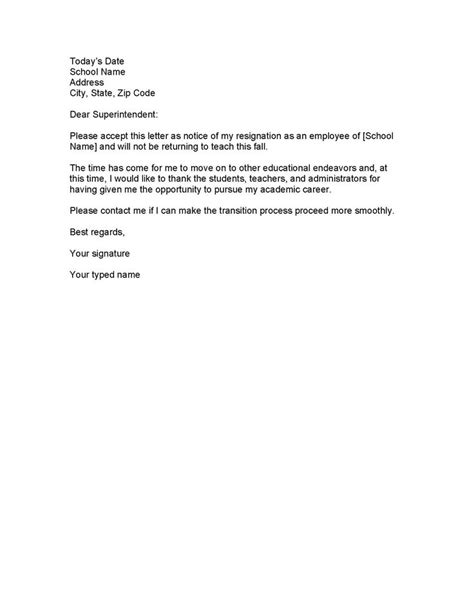 How To Write A Resignation Letter Template Free Word Free Printable Resignation Letter Template