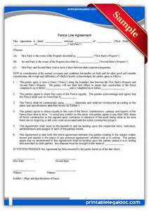 free printable fence line agreement form generic