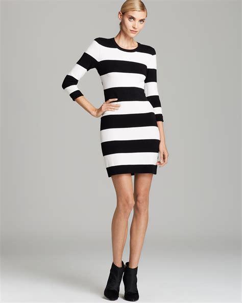 Sweater Stripe Black Gw44 connection sweater dress stripe in black lyst