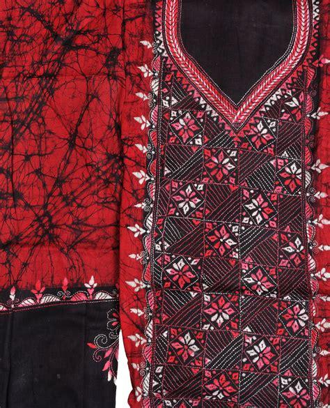 Batik Adriyana Maroon maroon and black batik salwar kameez fabric from kolkata kantha embroidery
