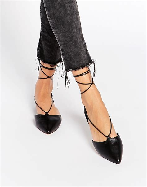 flat tie up shoes aldo aldo colyn black ghillie tie up flat shoes at asos