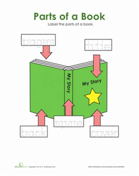 Parts Of A Book Worksheet by Book Words Worksheet Education