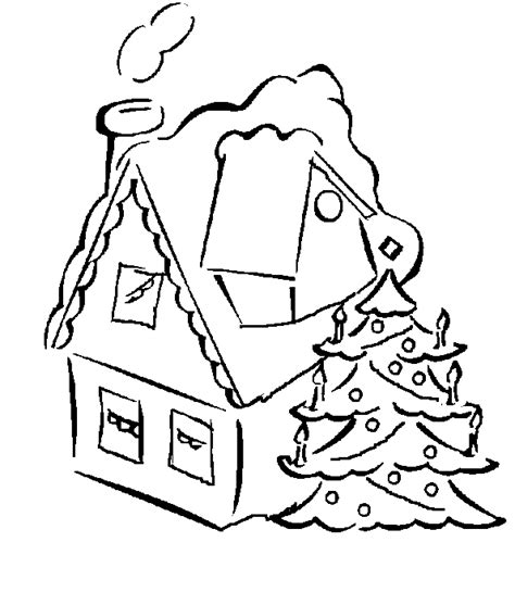 decorated house coloring pages house and christmas tree coloring book page christmas