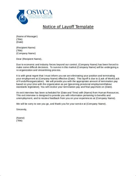 9 layoff notice sles templates free pdf format