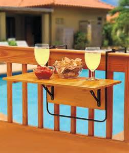 details about folding wood deck table tray railing patio