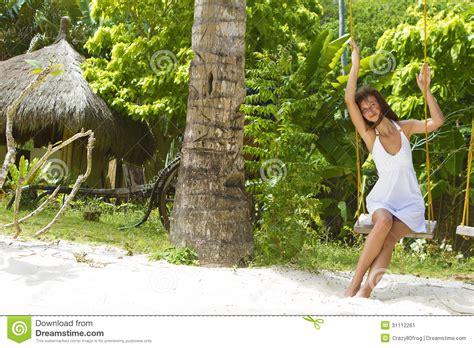 swinging naturals young beautiful woman swinging stock image image 31112261