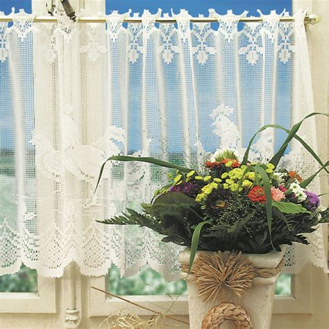 lace curtains garden of joy cock animal polyester lace kitchen curtains set cafe