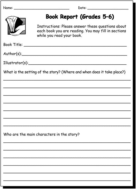 printable book reports book report 5 6 writing practice worksheet for 5th and