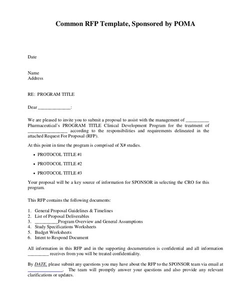 respond to rfp template common rfp template sponsored by poma