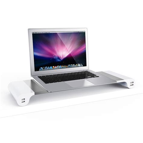 Macbook Mini Pro premium aluminum monitor stand with 4 usb 3 0 ports for imac mac mini macbook pro air