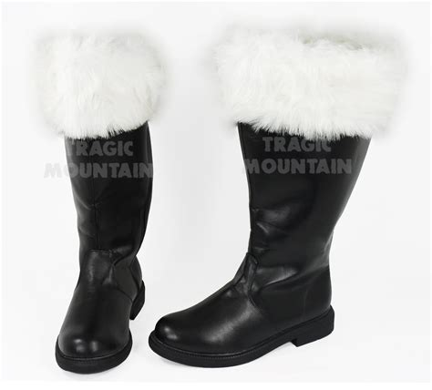 santa boots mens santa claus clause costume wide calf width