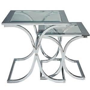 Home houston glass amp chrome nest of tables