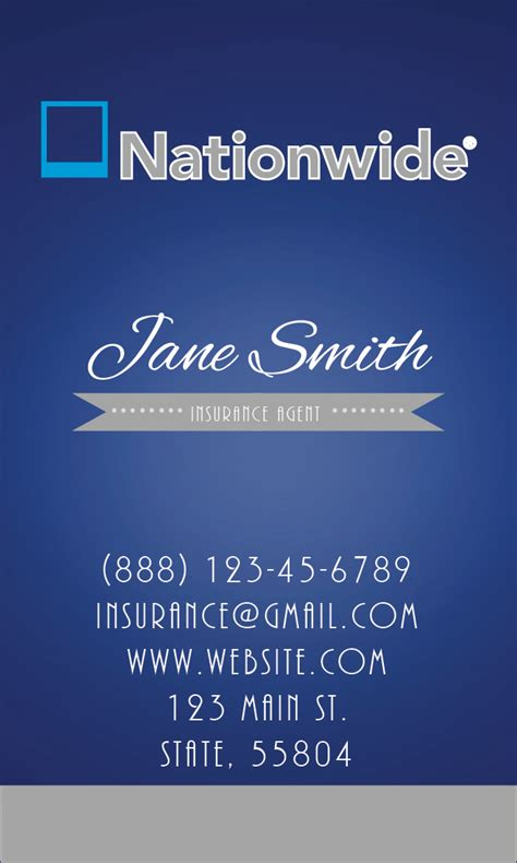nationwide insurance card template nationwide insurance vertical blue business card design