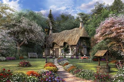 Peacock Park Home Decor Thomas Kinkade Painting Of Victorian English Cottage