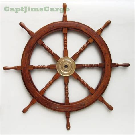 large 36 quot boat ship wooden steering wheel brass center