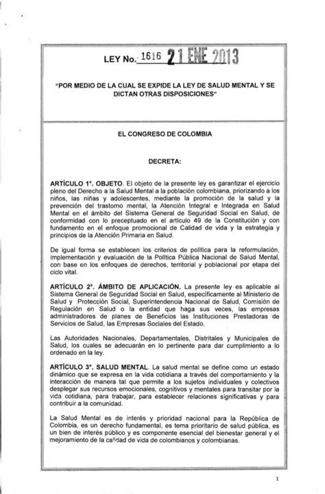 importancia ley 1616 de 2013 ley 1616 del 21 de enero de 2013 1