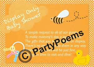 display baby shower poem inserts used along side of by partypoems