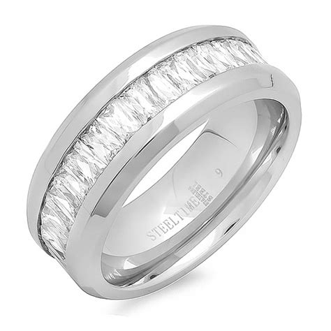s stainless steel engagement and wedding rings