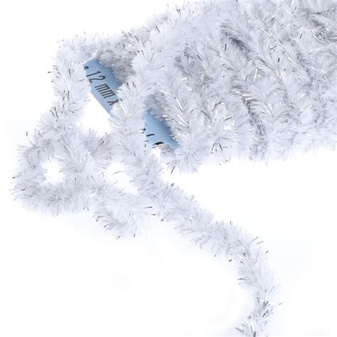 wireless garland white and silver tinsel wireless chenille rope garland