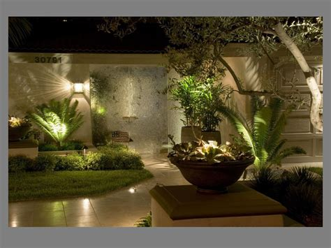 outdoor designer lighting shiny wall l tree front fresh grass right