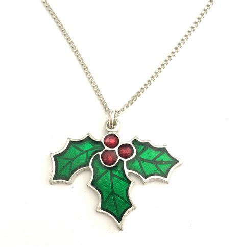 christmas holly necklace in english pewter handmade gift