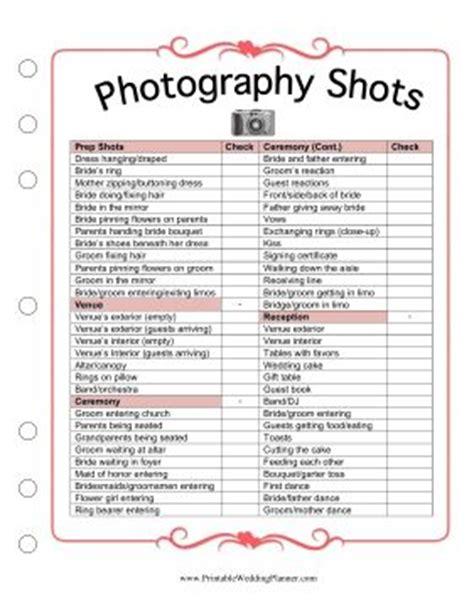wedding photography checklists printable the wedding planner wedding planners and planners on