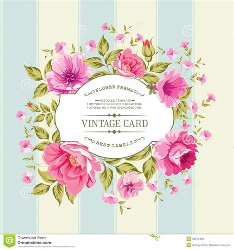 labels flower garden picture flowers free flower images garden flower label on the vintage card stock vector